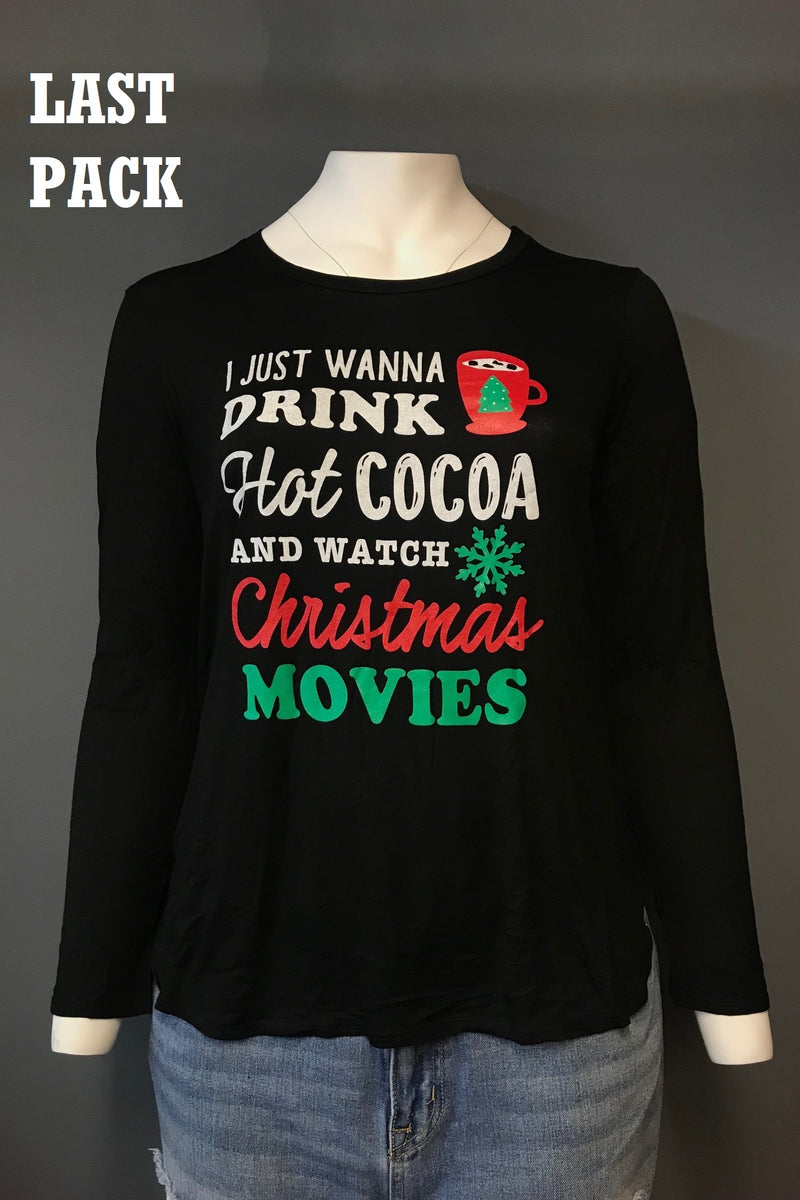 PLUS SIZE Long Sleeve Top with Holiday Theme