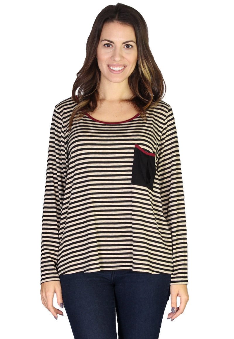 Striped Top with Pleated Pocket