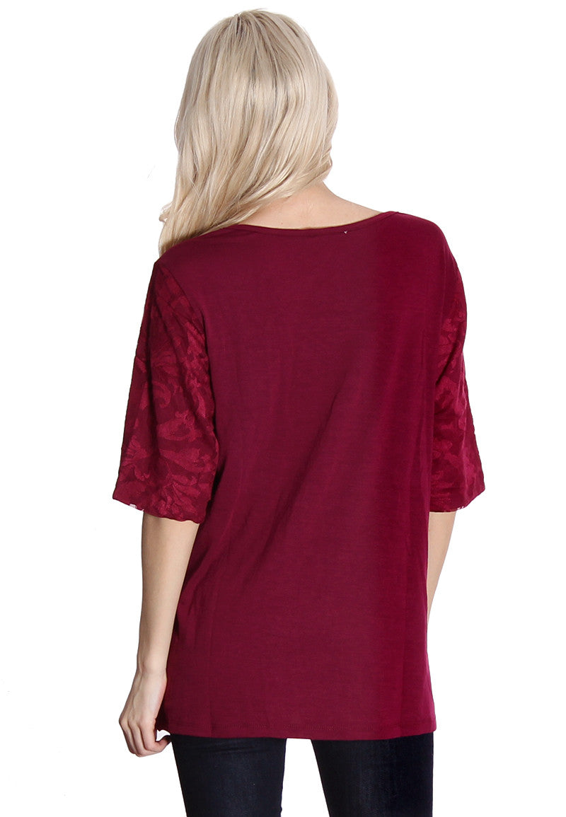 Burgundy Crochet Front Blouse