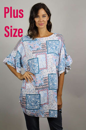 PLUS SIZE floral printed tunic