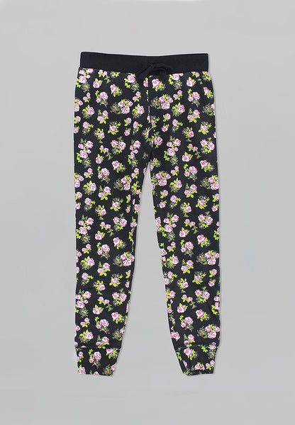 Black Floral Jogger Pants - Girls