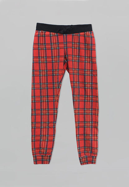 Red Plaid Jogger Pants - Girls