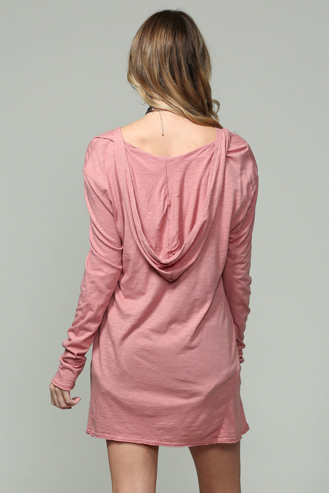 Mauve V neck W hoodie  Long sleeve top