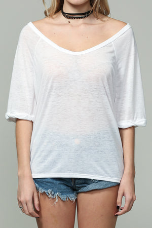 White Short sleeve open neck top