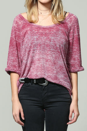 Wine charcoal short sleeve top