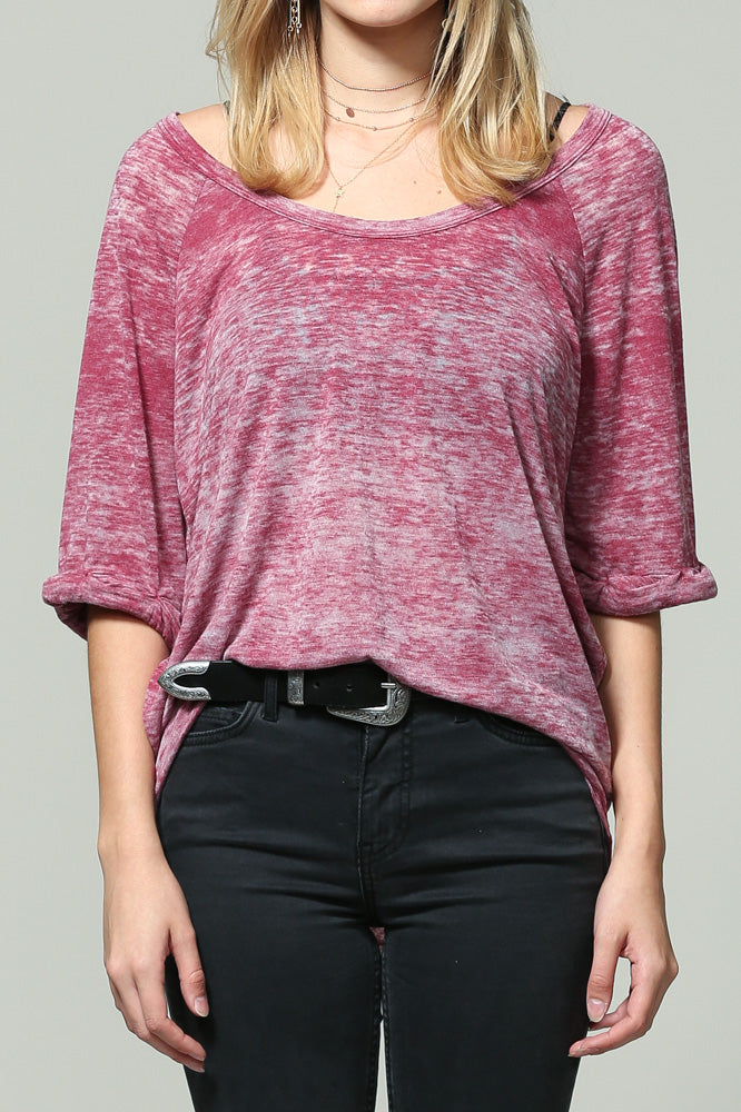 Red charcoal short sleeve top