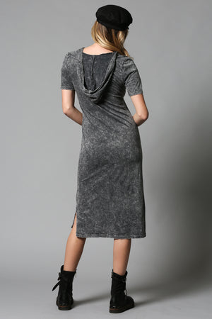 Charcoal Short sleeve Dress w Hood