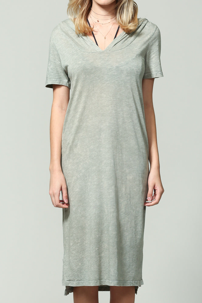 Sage Green Short sleeve Dress w Hood