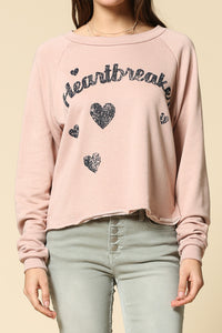 heart beaker long sleeve crew neck graphic top