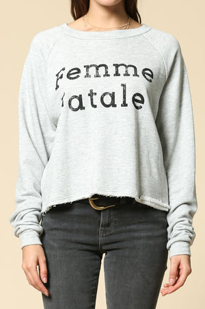 femme fatale long sleeve crew neck graphic top