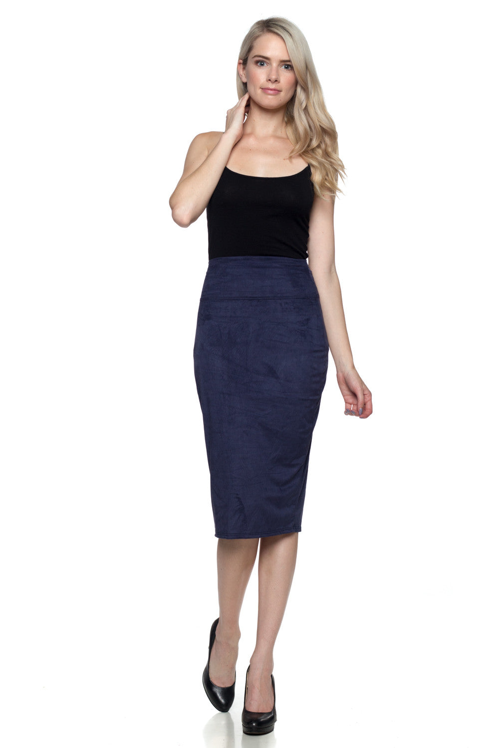 Women's Navy Suede Skirt