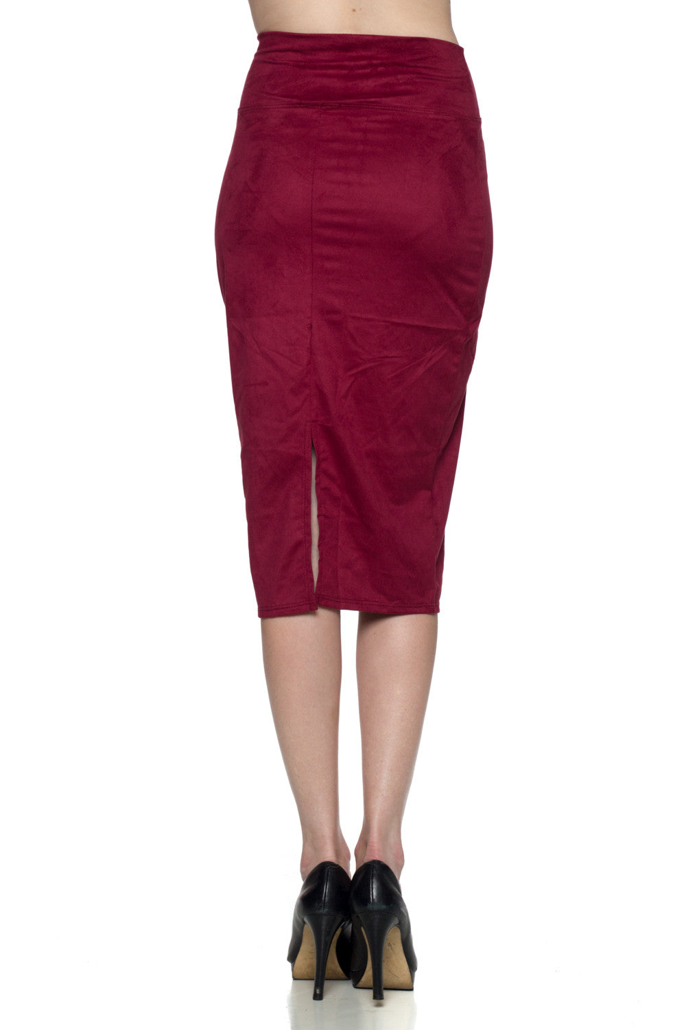 Women's High Waist Maroon Suede Midi Skirt