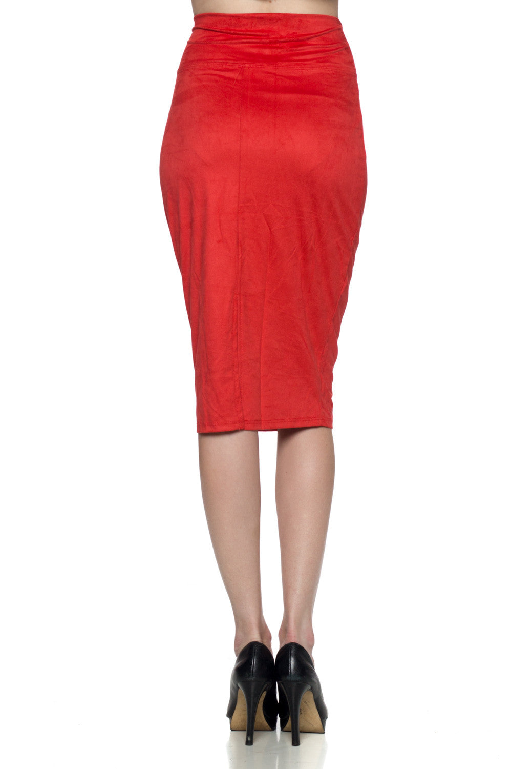 Women's Red Suede Pencil Skirt