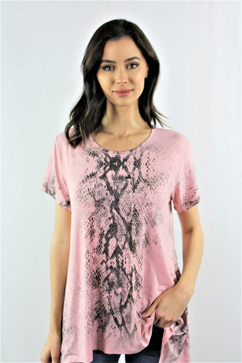 Short Sleeve Snake Print Top