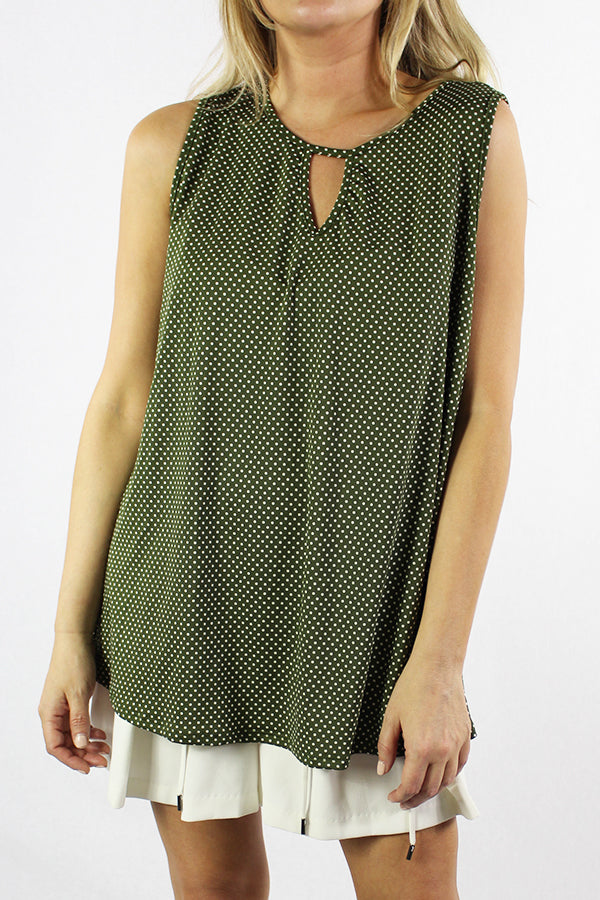 Women's Sleeveless Keyhole Neck Top With Polka Dot Detail