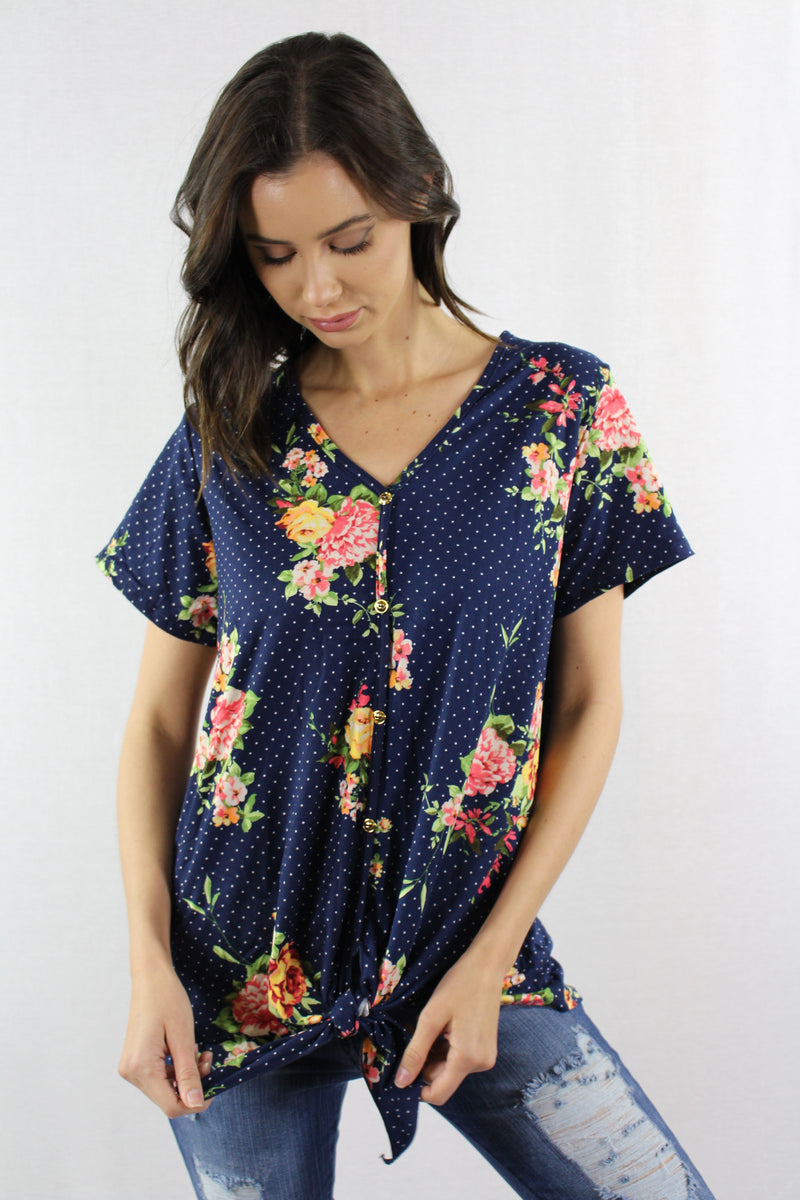 Floral Top with Button and Knot Detail