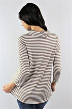 Women's Long Sleeve Stripe Cowl Neck Top
