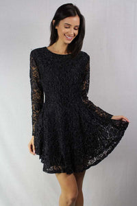 Women's Long Sleeve Lace Fit and Flare Dress