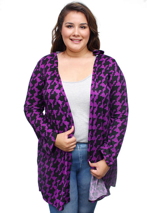 Plus Purple & Black Geometric Hooded Cardigan
