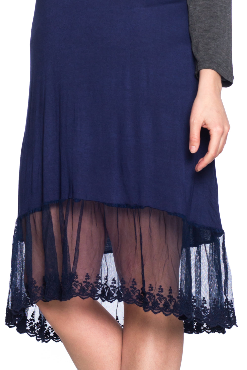 LS Dress with Lace Bottom Hem