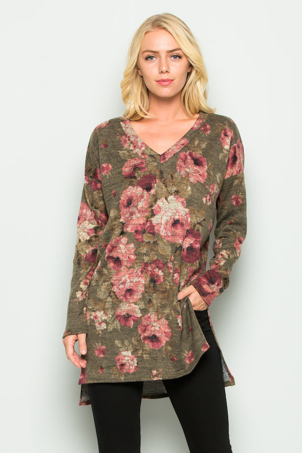 Women's Long Sleeve Floral Tunic Top