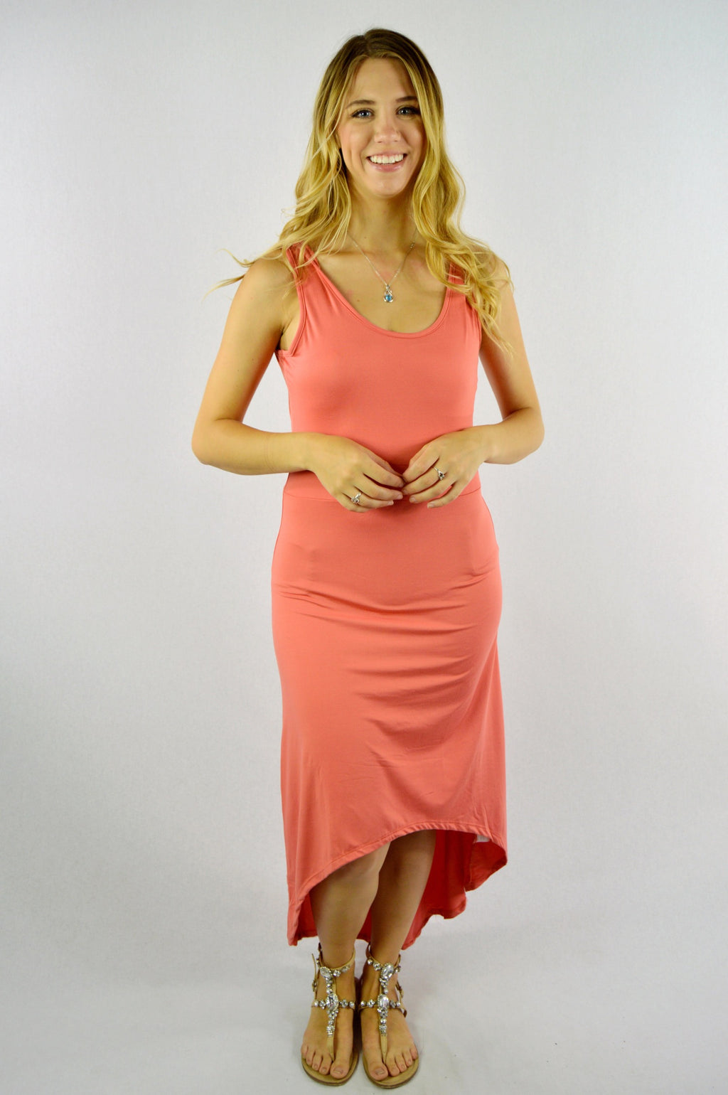 Women's Sleeveless Round Neck Hi Low Dress