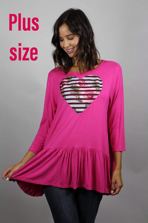 PLUS SIZE long sleeve heart top