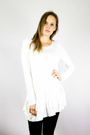 Long Sleeve Ruffle Hem Dress - White