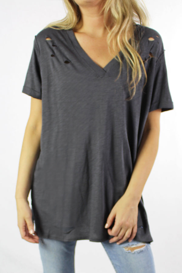 Women's Short Sleeve V Neck Distressed Tee