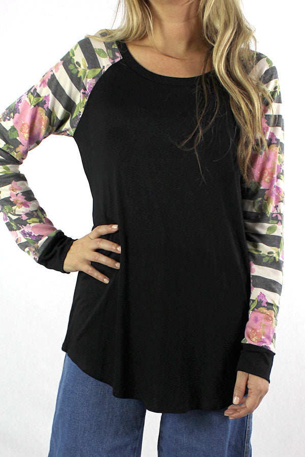 Women's Long Sleeve With Floral Detail