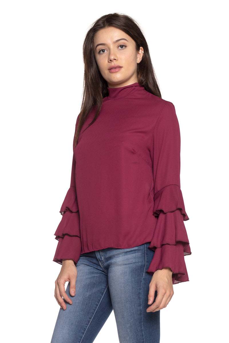 long sleeve chiffon mock neck top