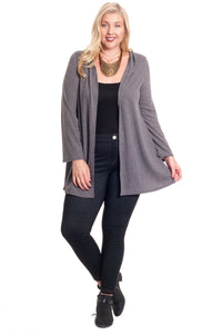 Women's plus size hooded cardigan