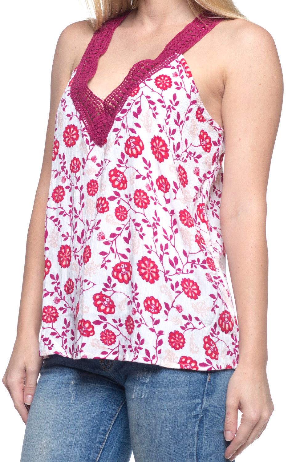 S/L Tank with V Neck Crochet Decoration