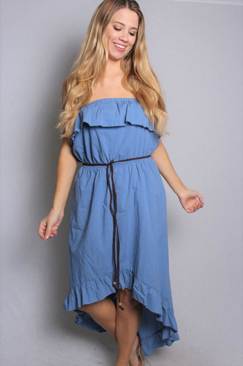 Women's Ruffled Lining High Low Strapless Dress With Belt