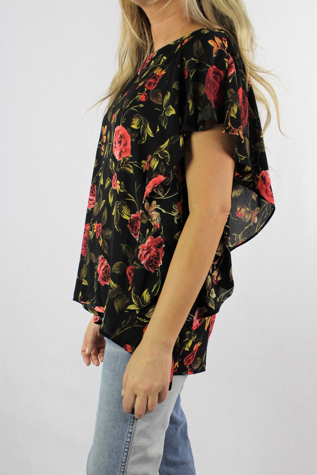 Women's Floral Print Flared Short Sleeve Top