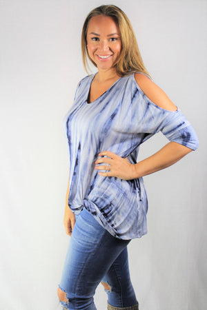 tie dye cold shoulder twist knot top