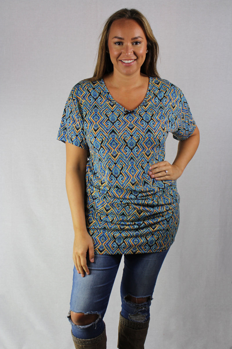 printed short sleeve tunic top