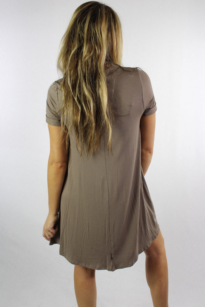 Women's Short Sleeve Crew Neck Swing Dress