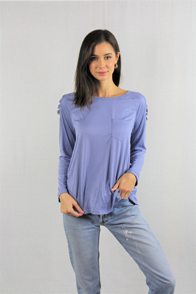 Long Sleeve Criss Cross Shoulder