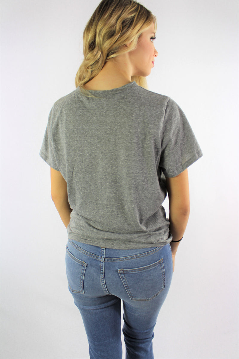 "Women's Printed ""Blessed"" Top with Front Knot"