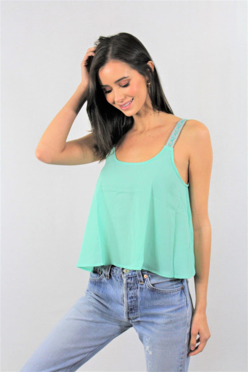 Women's Crochet Strap Crop Top