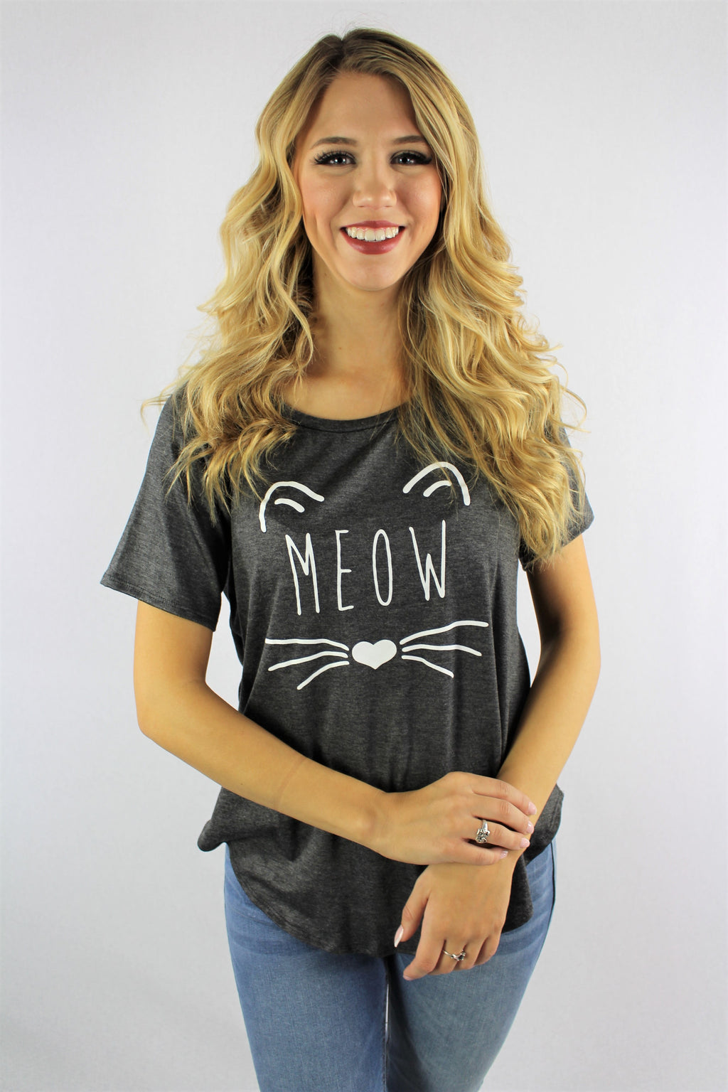 "Women's Printed ""Meow"" Short Sleeve Top"