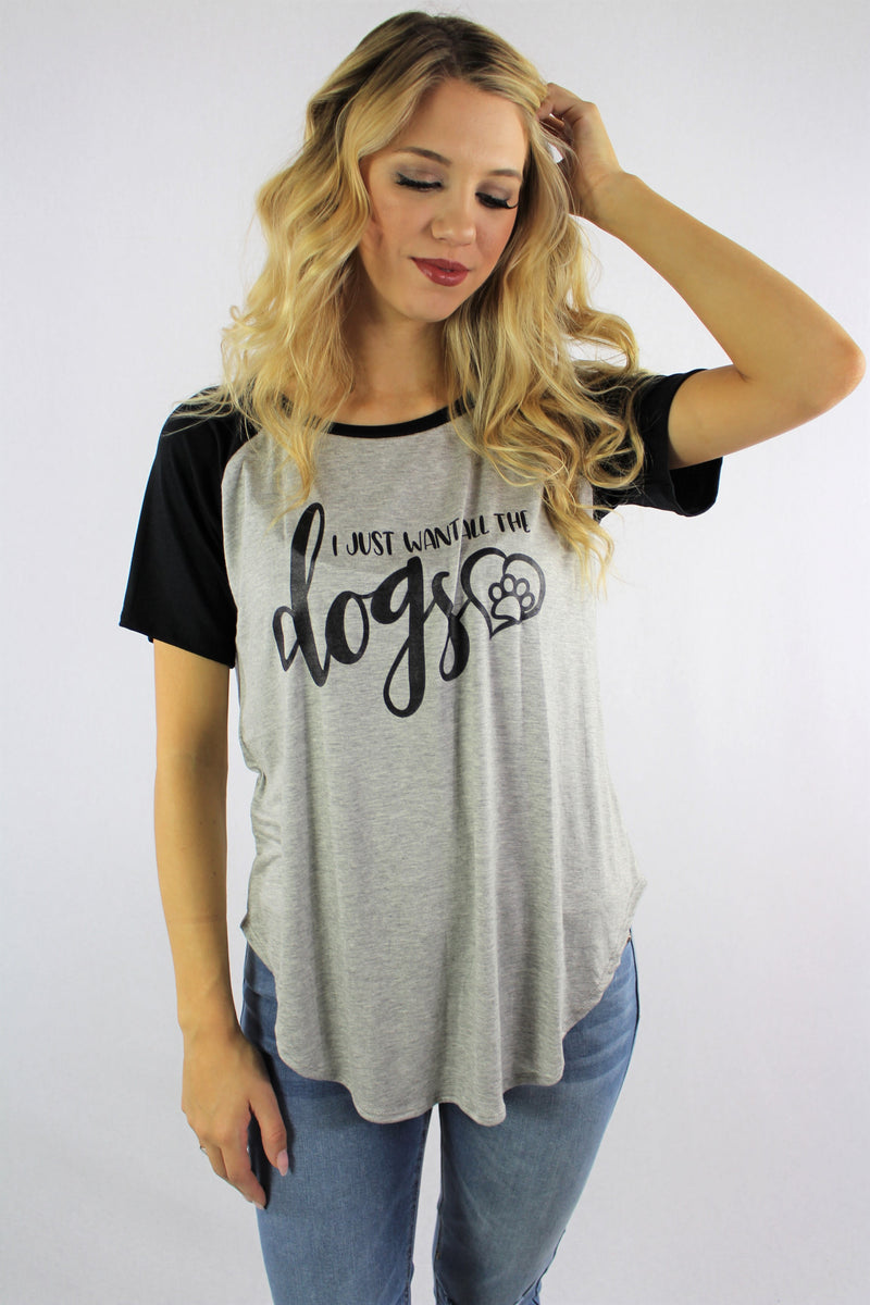 "Women's Printed ""Dogs"" Short Sleeve Top"
