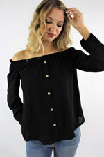 Women's Long Sleeve Off Shoulder Top with Button Details