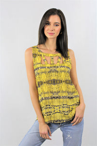 Printed Round Neck Sleeveless