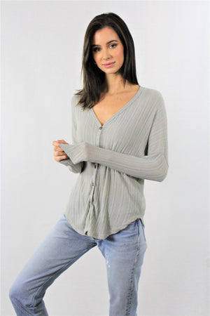 Loose Button Front Long Sleeve