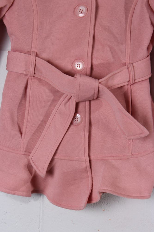 Kid's Pink Belted Peacoat