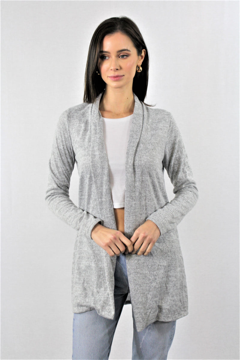 Solid Open Front Cardigan