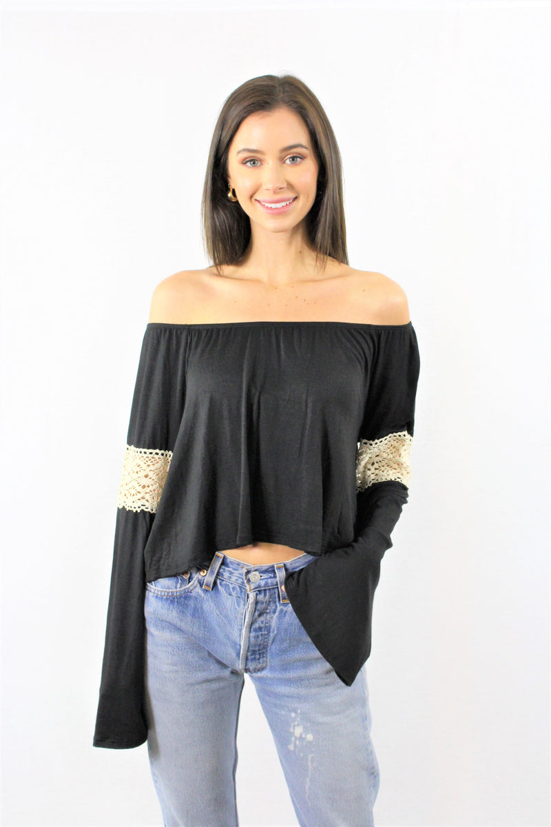 Long Sleeve Off Shoulder Crop Top