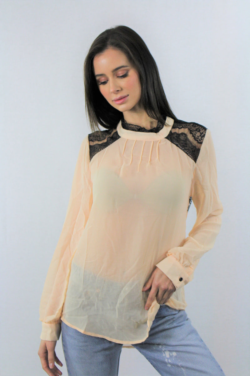 Sheer Long Sleeve with Lace Detail